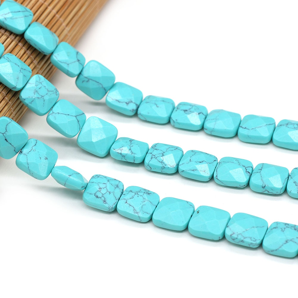 Natural Semi-precious Stone Beads Quartz Crystal Turquoises Faceted Loose Beads For Women Jewelry Making DIY Necklace Bracelet  - buy with discount