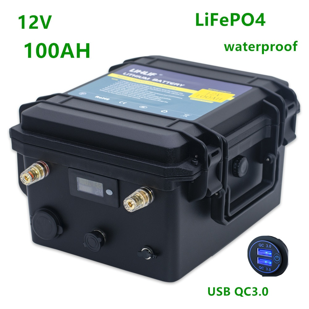 12v lifepo4 100ah batería 12v 100ah lifepo4 Paquete de batería de litio con 10A y cargador USB para barco motor propulsor pescado finder