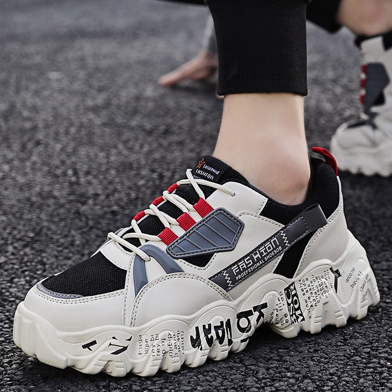 Mens Casual Shoes Spring Fashion Chunky Platform Sneakers Breathable Men Sports Outdoor Running