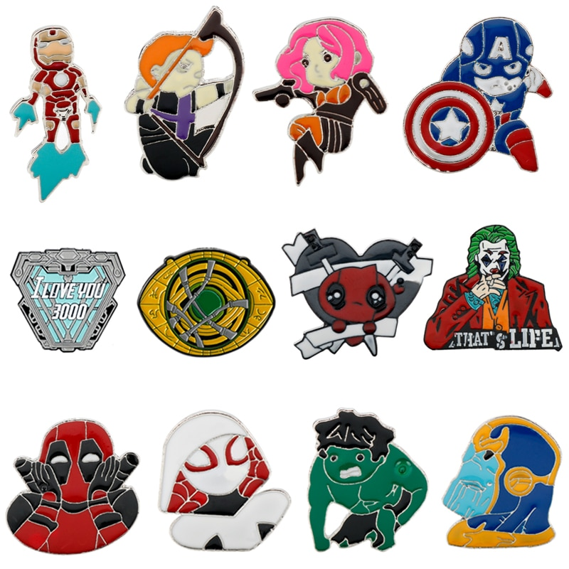 Marvel Superman Capitán América Iron Man y Deadpool Hulk Thanos Spiderman Doctor extraño Ojo de Agamotto Pines de esmalte broches
