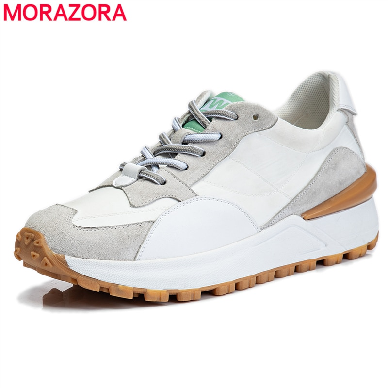 MORAZORA 2021 New Fashion Women Sneakers Lace Up Platform Flat Shoes High Quality Leather Spring Breathable Ladies Casual Shoes