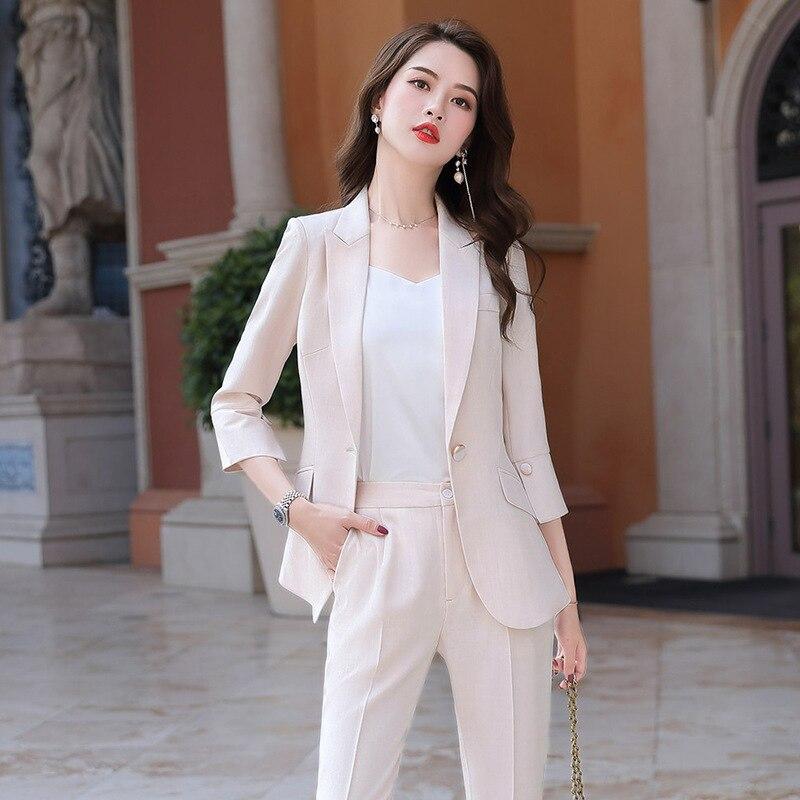 2020 New Female Formal Elegant Women Office Lady Pant Suits Business OL Blazer Suit Formal Work Two Pieces Suits Set