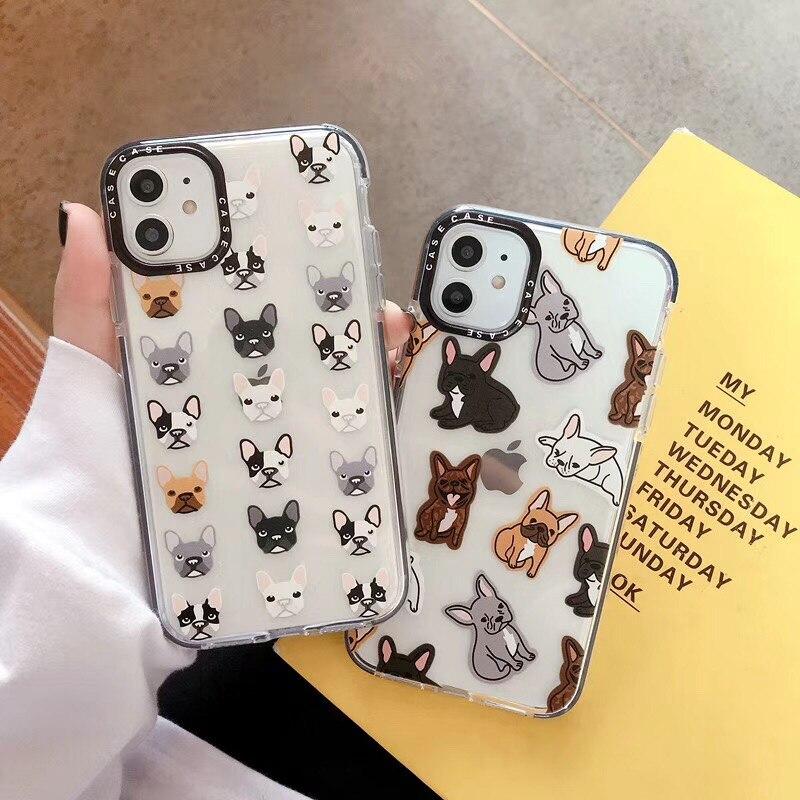 Funda bonita de dibujos animados bulldog a prueba de golpes para iphone 11 11Pro Max X XR XS Max 7 8 Plus funda protectora de silicona suave transparente