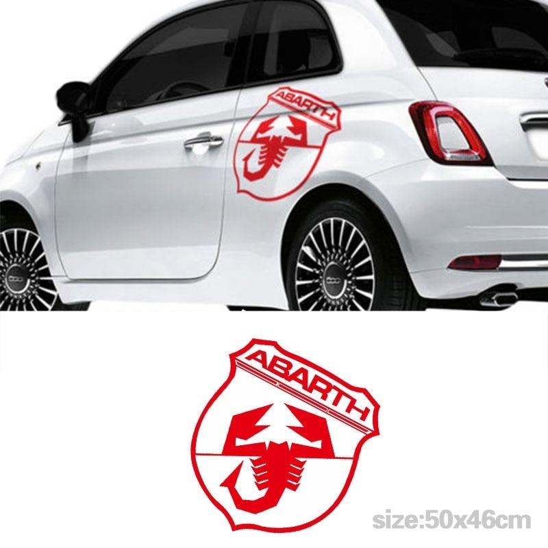 Por 1 juego 2 uds para Fiat 500 Abarth coche lateral gran pegatina pegatinas para coche gráficos Sticke DA-A45