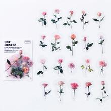 40PCS /Bag Romantic Pink Rose Adhesive  Sticker DIY Craft Notebook Computer Decoration