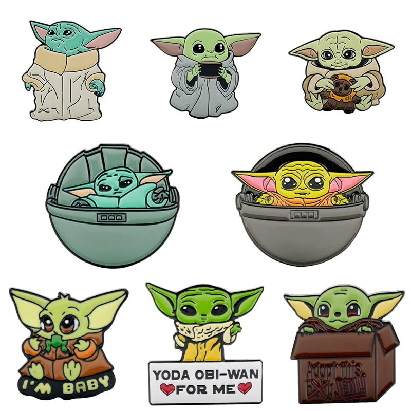 Anime de dibujos animados Maestro Yoda de Star Wars bebé broches esmaltados bebé Yoda solapa insignias de la joyería para niños niñas