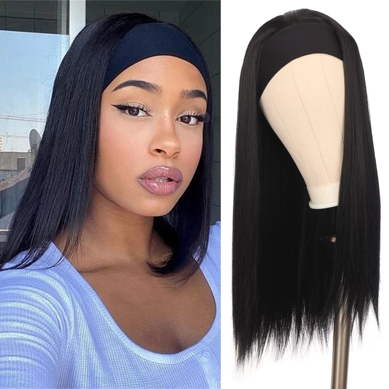 SHANGKE High Quality Long Straight/Wave Headband Wig High Temperature Fiber Ombre Brown Black Synthetic Wigs For Women Free Gift