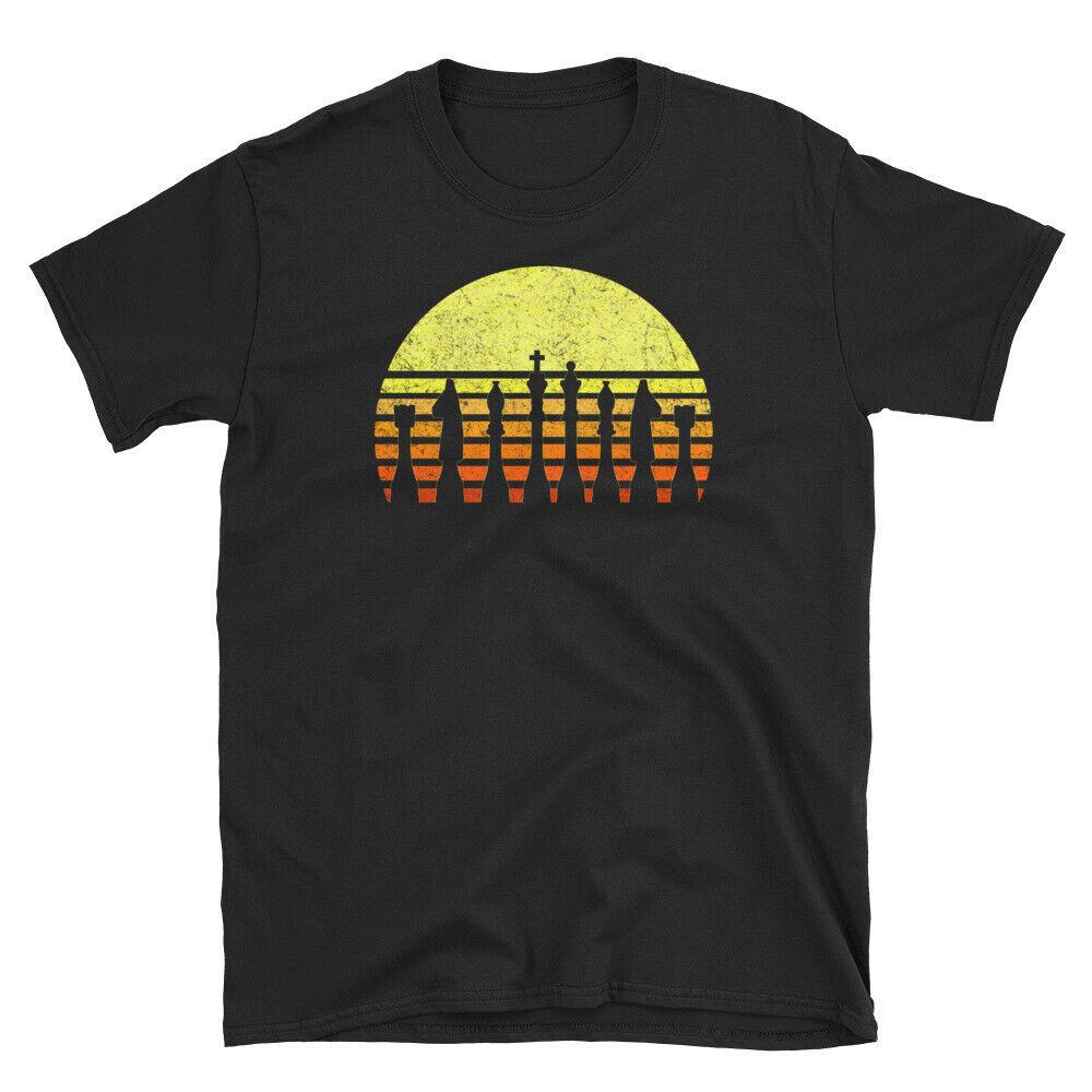 Camiseta Unisex de manga corta con puesta de sol Retro Vintage para jugadores de ajedrez