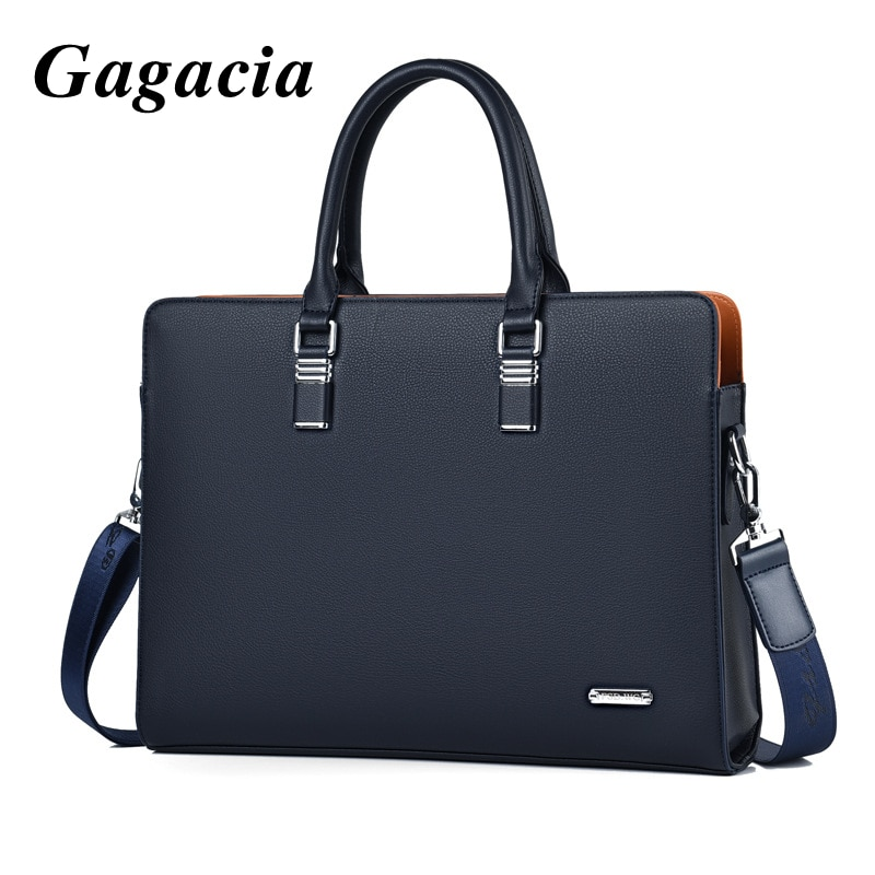 GAGACIA New 2021 Fashion Handbags For Men Business Leather Briefcases 14.1 Laptop Mens Luxury Handbag Male Tote