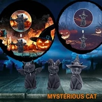 resin handicraft decoration animal sculpture mytserious cat with bat wings christmas party decoration creative props navidad
