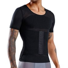 Mens Slimming Shaper Posture Vest T-shirt Male Belly Abdomen For Corrector Compression Body Building Fat Burn Chest Tummy Shirt