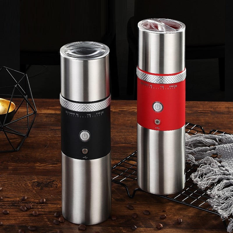 مطحنة القهوة المنزلية المحمولة الكهربائية حبوب البن الفلفل المطاحن USB قابلة للشحن المطبخ الفولاذ المقاوم للصدأ أداة المطاحن