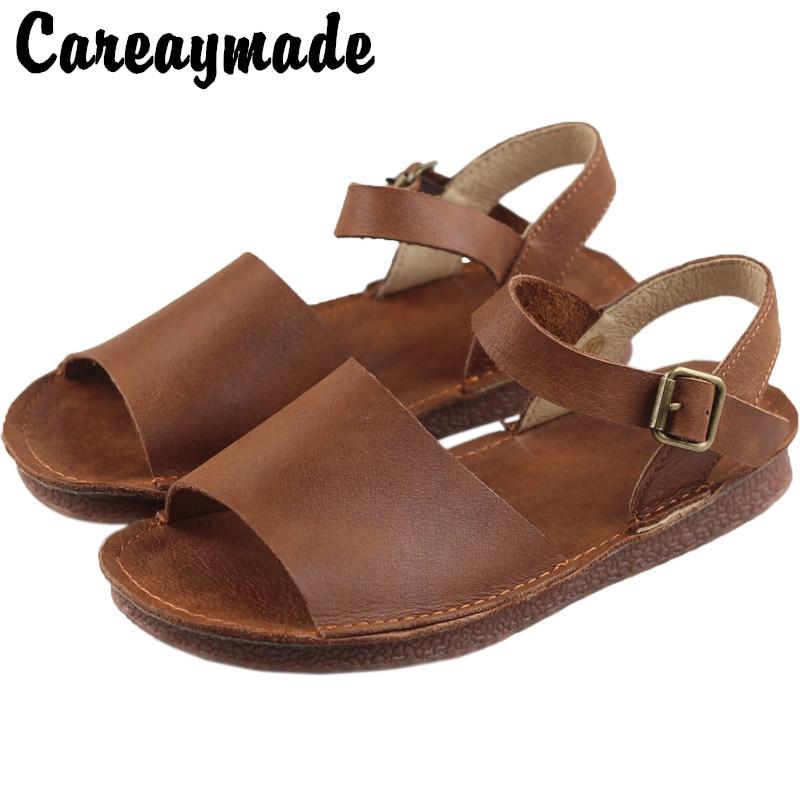 Care-صنادل نسائية مصنوعة يدويًا من جلد البقر ، أحذية صيفية ، أحذية أدبية ، بنعل مسطح ، نمط فم السمكة ، ريترو