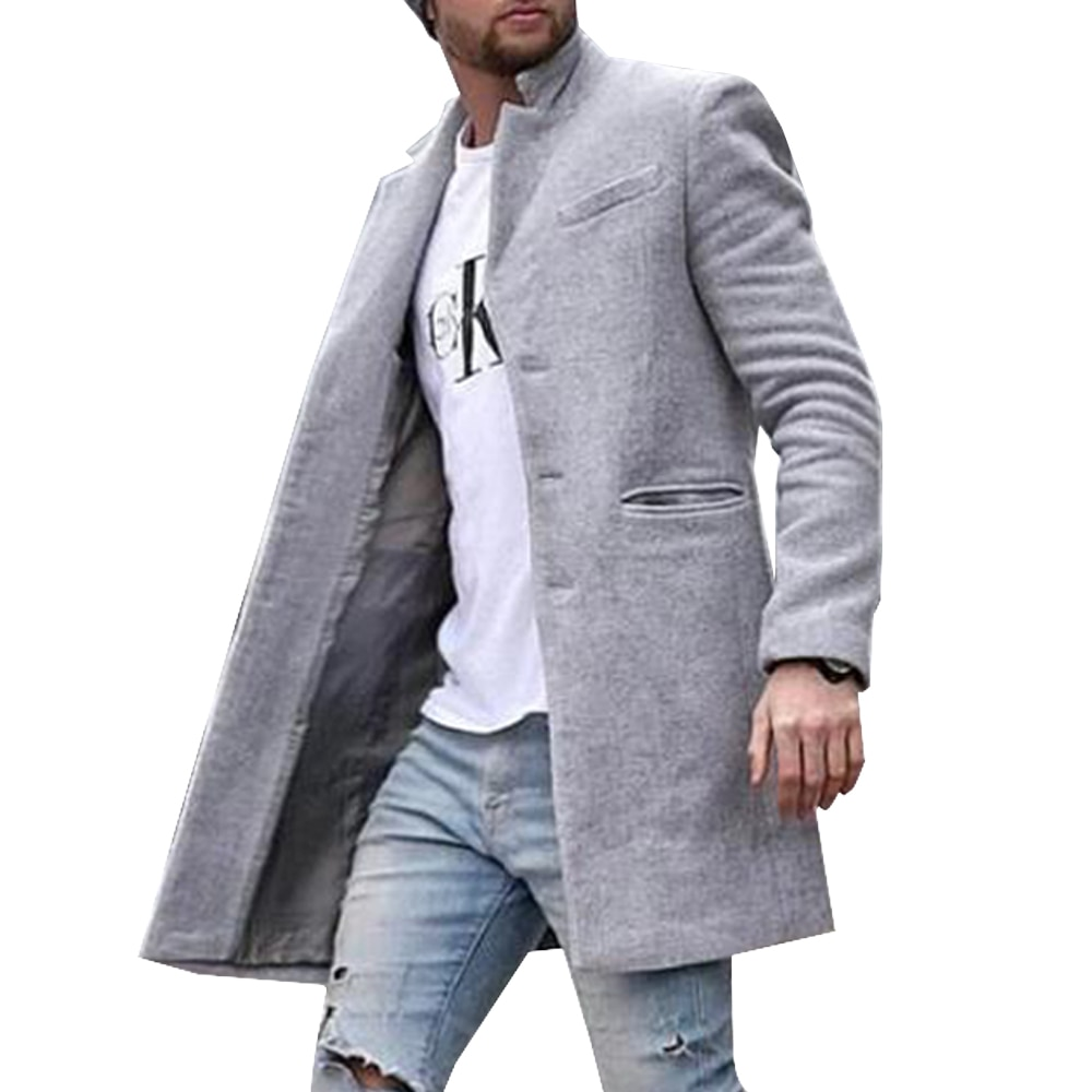 Men Winter Coat Winter Solid Color Long Sleeve Coats Outwear Casual Plus Size Mens Clothing Jacket M