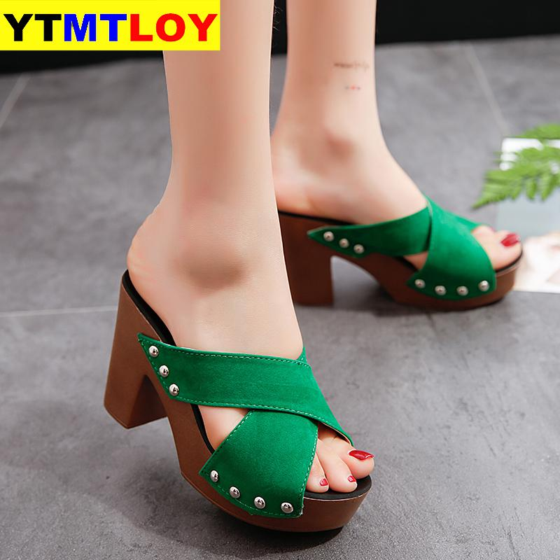 Summer Women Sandals Square High Heel Platform Flock Casual Rivet Pumps Peep Toe Female Elegant Ladies Shoes Zapatos De Mujer