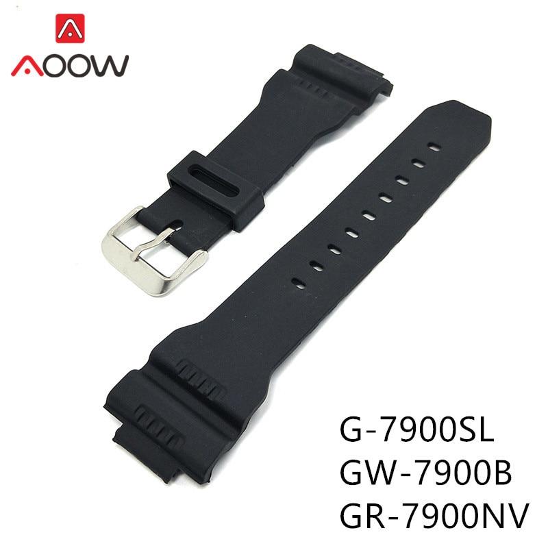 PU Strap Band for Casio G-SHOCK G-7900SL GW-7900B GR-7900NV Men Sport Outdoors Rubber Replacement Bracelet Watch Accessories