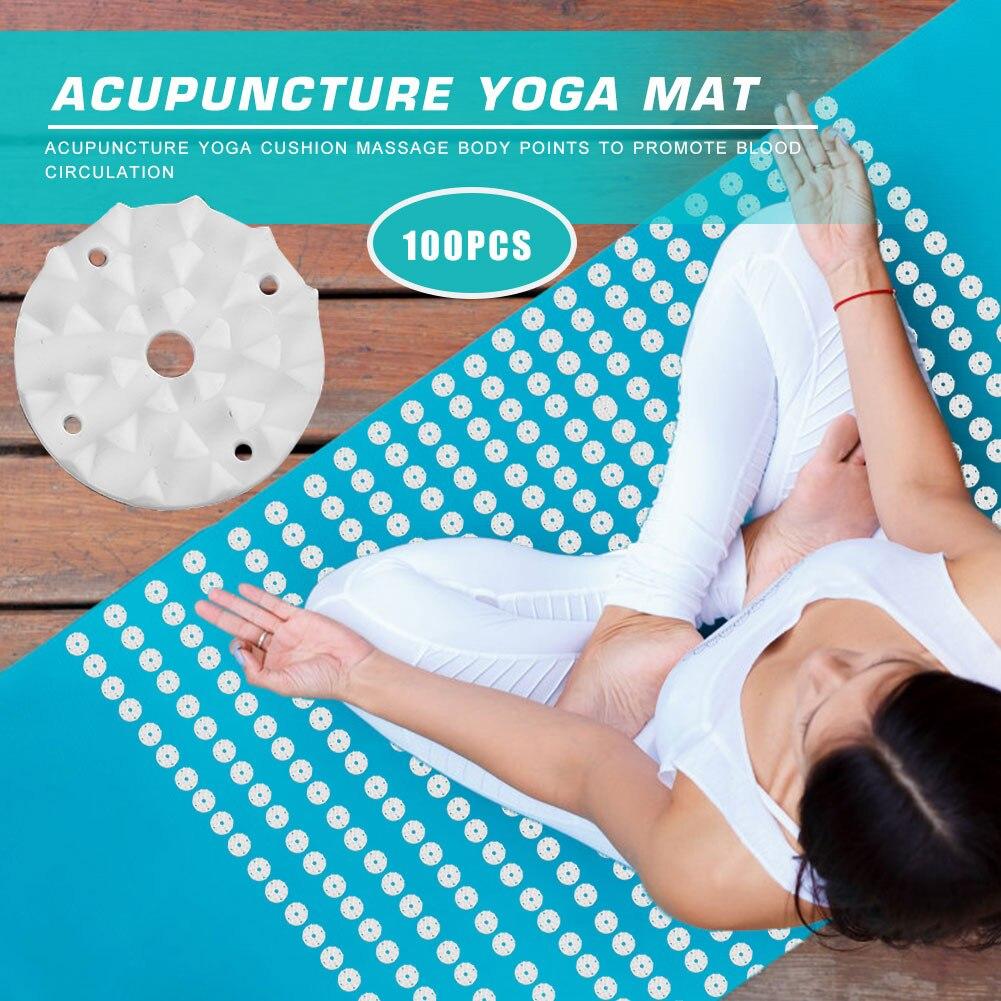 100pcs Plastic Lotus Acupressure Yoga Mat Accessories Spikes Fitness Workout Pilates Carpet Cushion Pad Needle