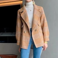 fashionable double sided wool coat womens short 100 merino wool overcoat 2021 spring new suit collar woolen outerwear