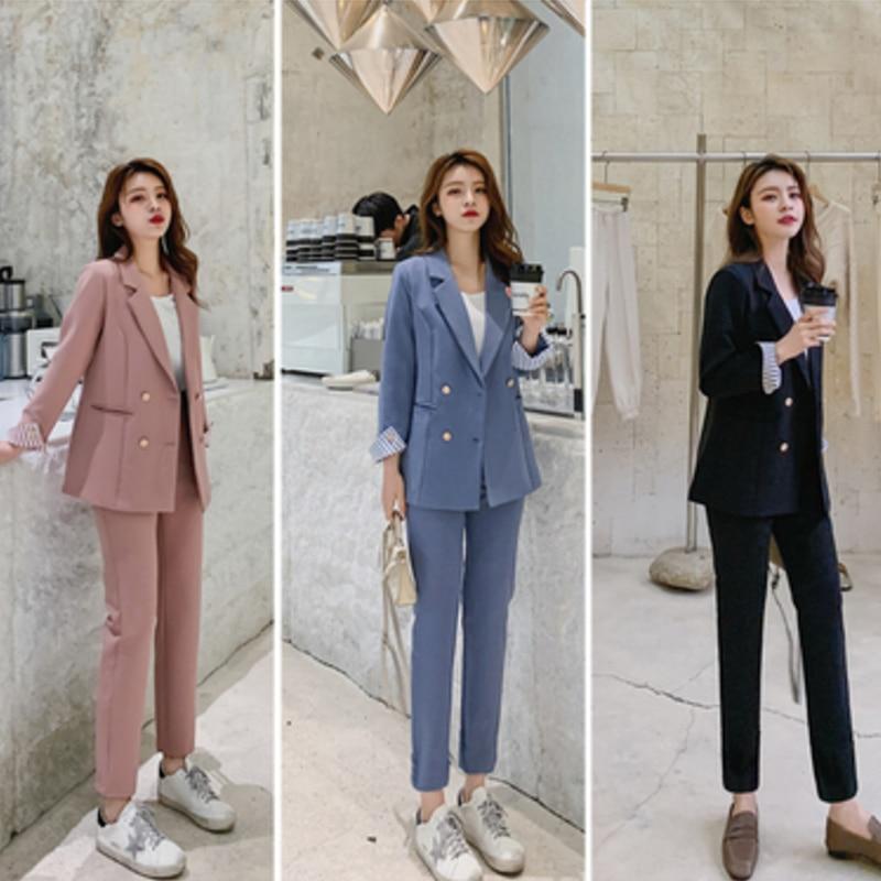 New Fashion Spring Summer Women's OL Blazer Slim Pants Two-Piece Set Suits Female