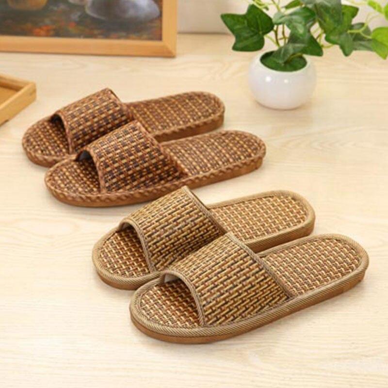2020 verão chinelos de grama tecido unisex praia confortável respirável antiderrapante bambu rattan sapatos sandálias