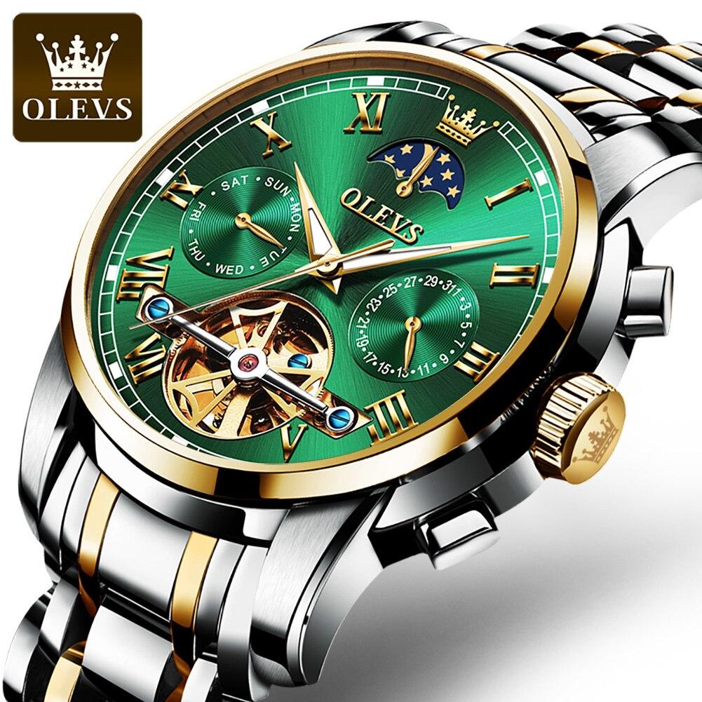 OLEVS أفضل العلامة التجارية الفاخرة التلقائي ساعة الرجال القمر المرحلة توربيون ساعات آلية مقاوم للماء ساعات المعصم Relogio Masculino