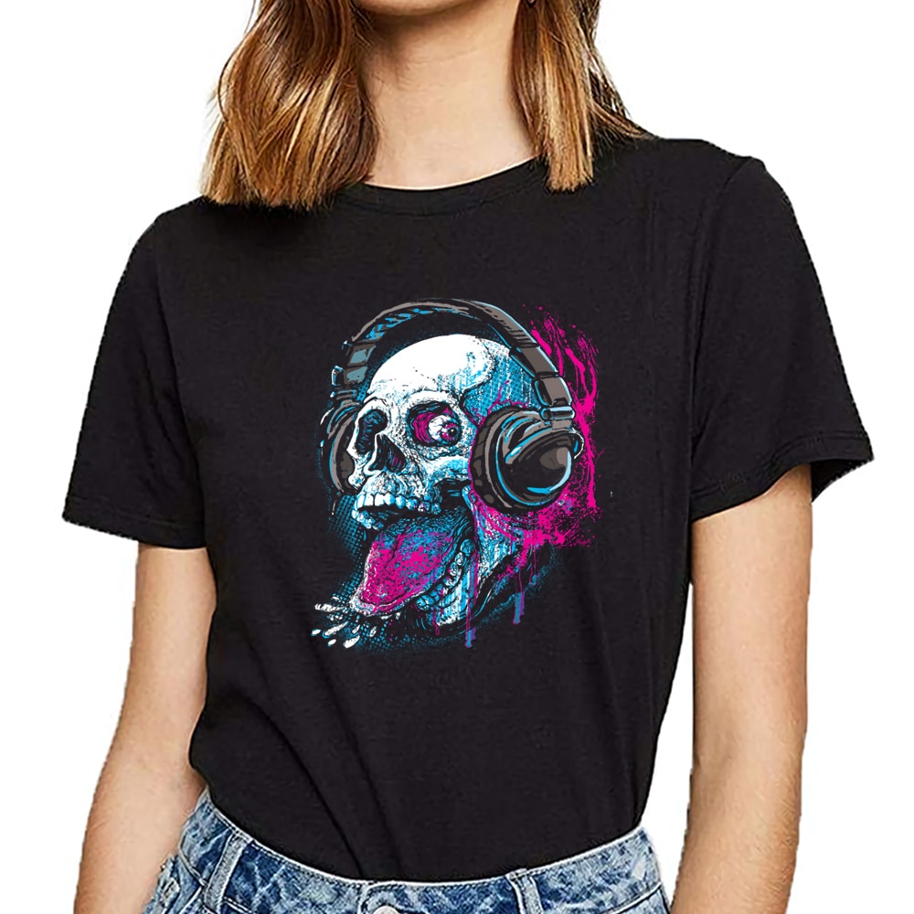 Tops camiseta mujer cráneo givin raspberry dk Casual negro corto Mujer camiseta