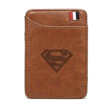 2019 New Arrivals High quality Superman  leather magic wallets Fashion men money clips card purse cash holder