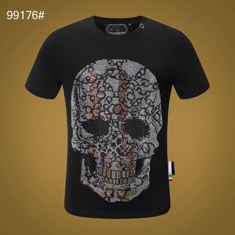 T-shirts dos homens de manga curta esportes 3d impresso diamante crânio hip hop rua plein crânio manga curta