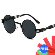 2020 New Men Gothic Steampunk Sunglasses Driving Women Round Shades Sun Glasses Men's UV400 Goggle Vintage Retro For Male 8010