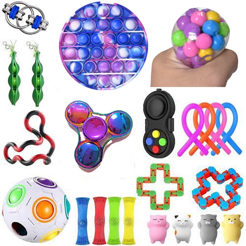 Fidget Toy Sets with Pop Pack It Anti Stress Figet Toys Box Set Fidget Toys Pack Set Push Pops Bubble Sensory Toy Squishy Stress enlarge