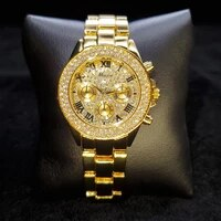 missfox top brand gold woman watch classic style round iced out dial lady quartz watch luxury fashion temperament watches women