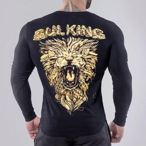 Men Bodybuilding Long Sleeve T-shirt Workout Printed Slim Fit Gym Male Pullover Tops