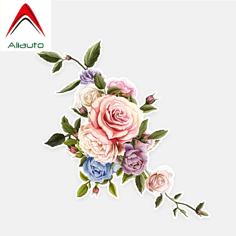 Aliauto Personality Interesting Car Stickers Roses Flowers Decor Bumper Auto Window Colored Graphic Decal Decoration.13cm*13cm