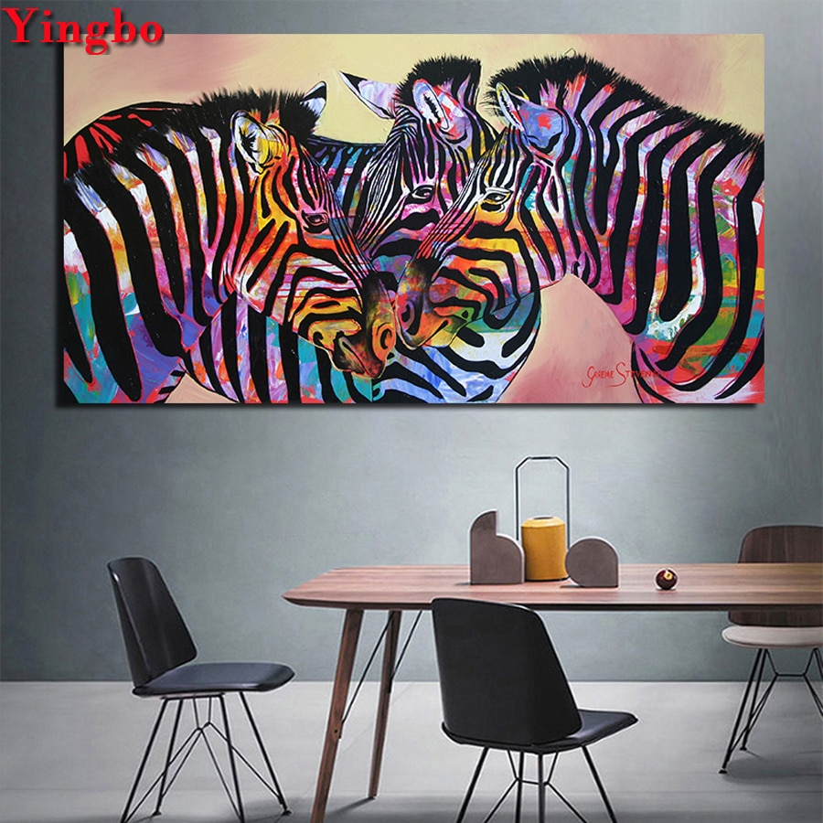 Tres zebras coloridas 5D cuadrado/redondo bordado de diamantes Diy gran tamaño daimond mosaico patrones diamante pintura venta arte nórdico