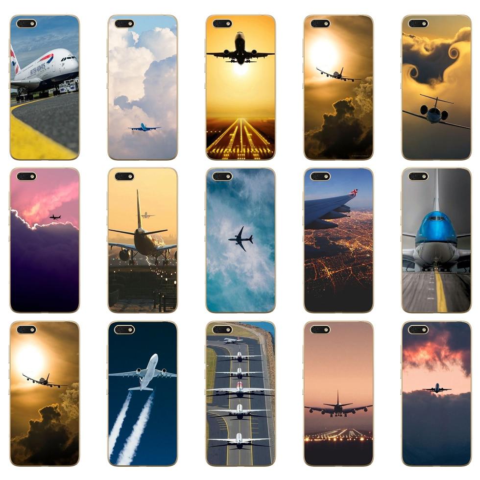 04D Aircraft Flugzeug fly reise wolke Weiche Silikon Abdeckung Fall für Huawei honor 9 10 Lite 7A 5,45 7a pro 7c 5,7 zoll 7x 8x fall