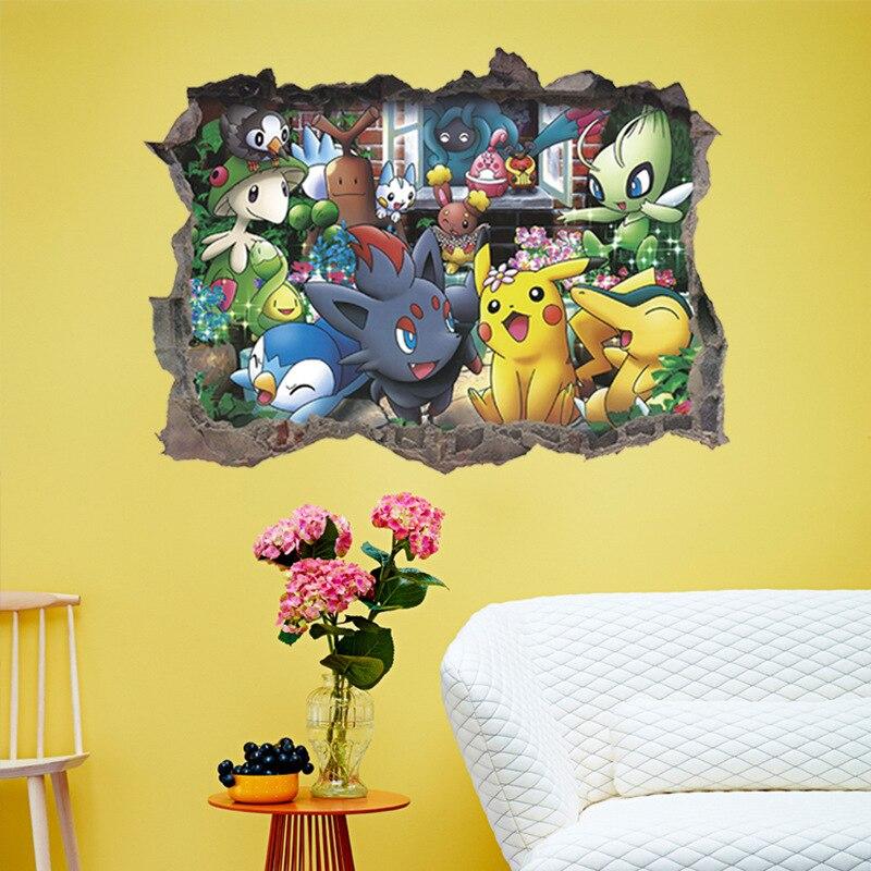 Мультфильм Покемон декор для спальни детская комната ation настенные наклейки для дома и гостиной