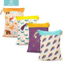 Happy Flute sac à couches sec humide   Sac réutilisable étanche à la mode avec empreintes, Double poignée en tissu, sacs à eau 30*40CM vente en gros 1 pièce