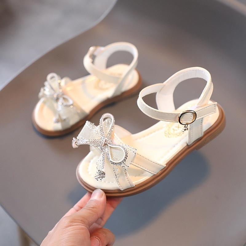 Girls Sandals 2021 New Little Fashion Sequined Princess Kids Summer Soft Bottom Beach Children