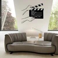 Autocollants muraux en vinyle pour decoration de salle de cinema  planches a claquettes creatives ph253
