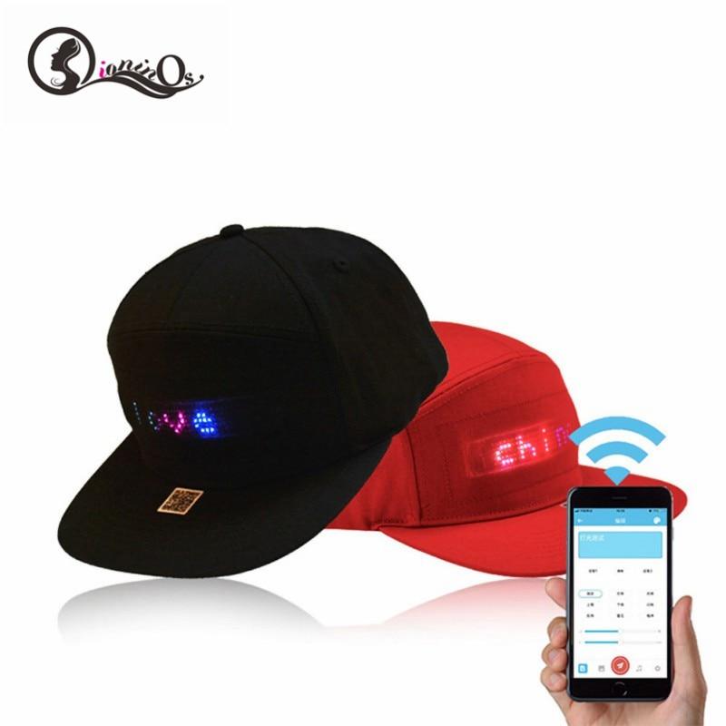 Rojo/Negro aplicación móvil creativa funcionamiento luces Led Bluetooth Hip Hop sombrero para montar en fiesta para hombres y mujeres sombrero publicitario
