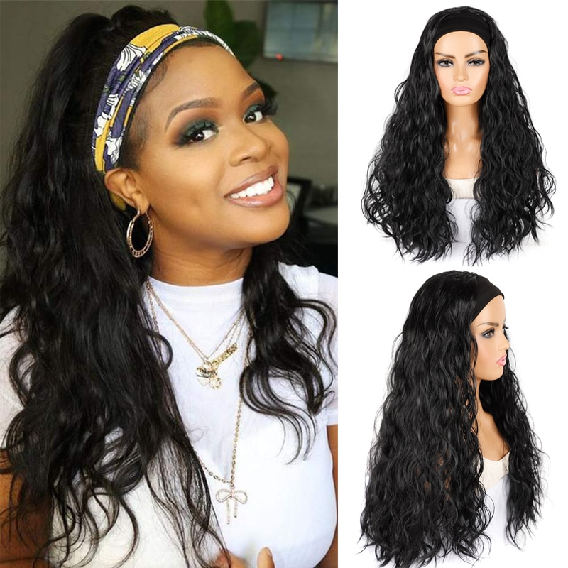 Long Wavy Headband Wig Glueless Heat Resistant Synthetic Wigs for Black Women 180% Density Full Ends Black Wig 24 inches