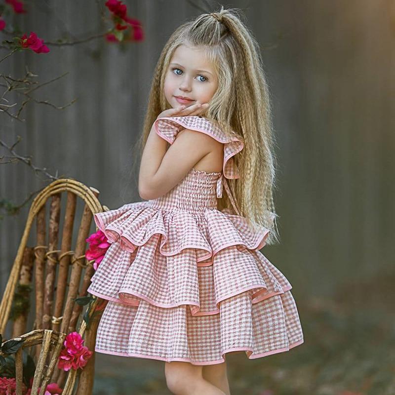 2020 new Baby children girl summer clothes princess ball plaid knee-length fashion pressy dress kids toddler girl skirt dresses
