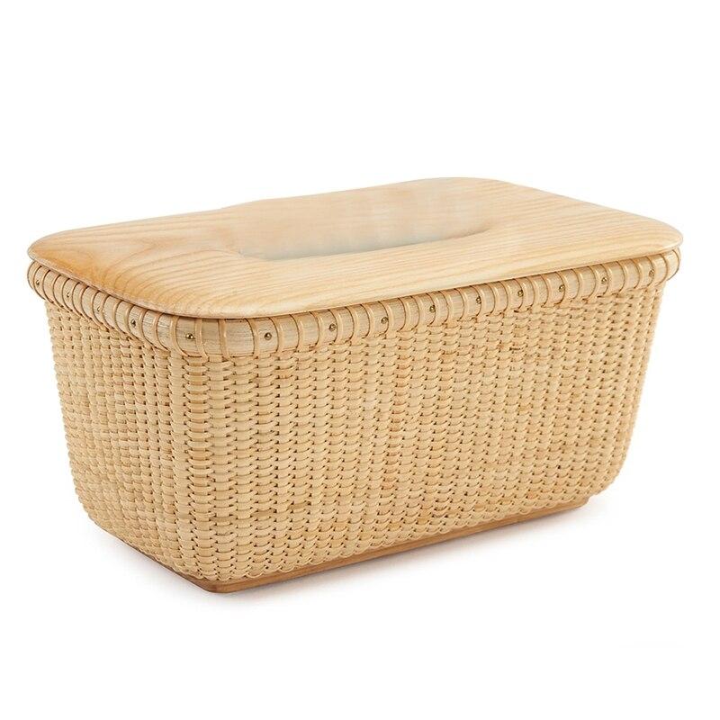 150 Pumping Household Tissue Box Rattan Tissue Box Pastoral Style Handmade Square Rattan Wooden Cover Tissue Box