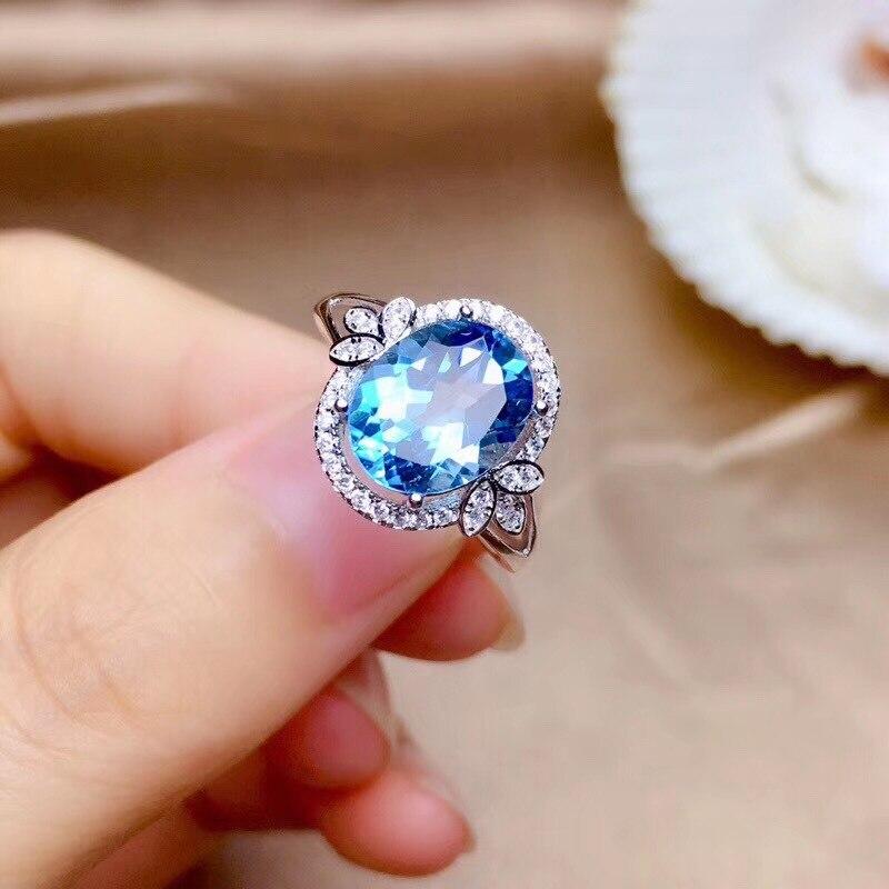 Real 14K White Gold Natural Sapphire Ring for Women Anillos De Bizuteria Mujer Gemstone Blue Topaz Wedding Rings