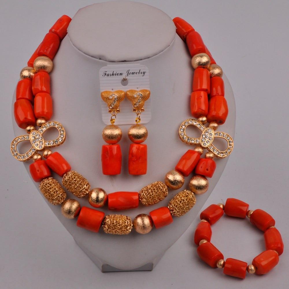 Fashion Orange Coral Beads Costume Necklace African Jewelry Set Nigerian Wedding Bridal Jewelry Sets 321-J2