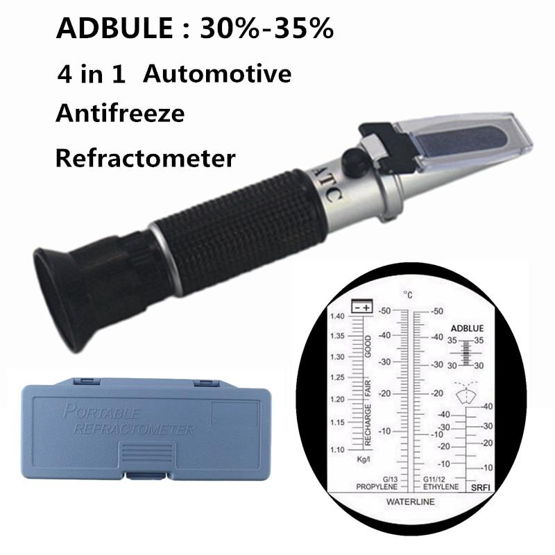 4 в 1 ATC рефрактометр антифриз тестер хладагента Adblue двигатель жидкость пропилен Этиленгликоль детектор автомобиля Чистый тест батареи