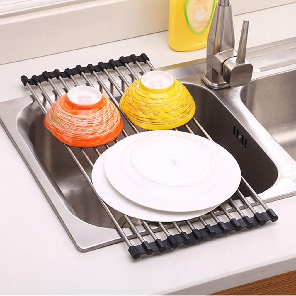 Estante de secado de platos, soporte de drenaje de acero inoxidable, fregadero telescópico, estante de limpieza de cocina, estante para frutas y verduras, cesta de cocina