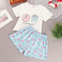 teenager girls set summer children short sleeve shorts pants 2 pcs cotton casual girl fashion print cute home clothing