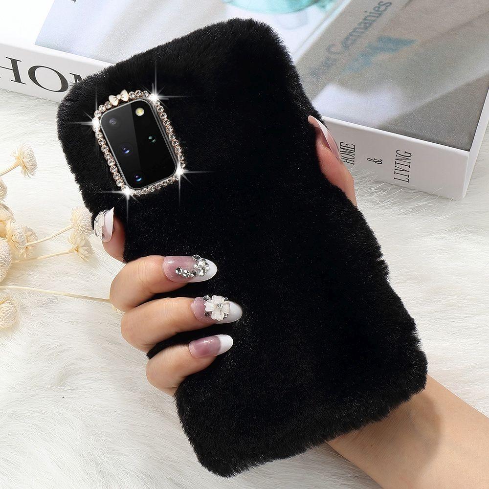 Luxus Pelz Bling Diamant Telefon Fall für Samsung Galaxy S20 Ultra 5G S9 S8 Plus S10 Lite S10e Hinweis 10 20 weiche Silikon Abdeckung