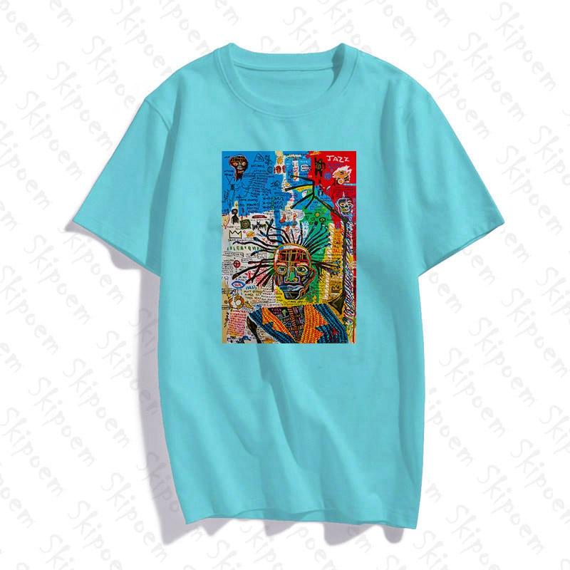 Jean michel mulher tshirt estético estilo coreano kawaii harajuku casual skipoem algodão manga curta roupas coloridas streetwear